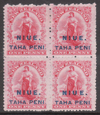NIUE 1902 #9c VARIETY NO STOP #9d WIDE SPACE UE & NO STOP MINT GV STAMP BLOCK