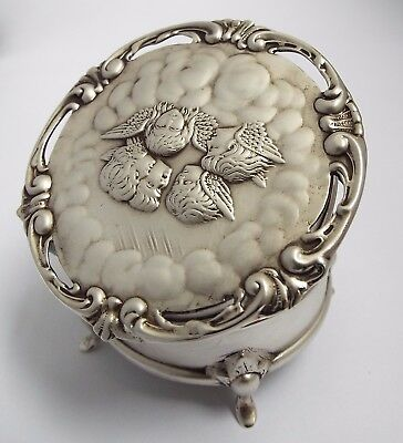 Superb Clean Condition English Antique 1905 Solid Silver Cherubs Jewel Ring Box
