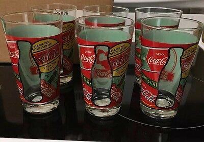 Set Of 6  'DRINK' Coca-Cola Glasses with see through bottle silhouette