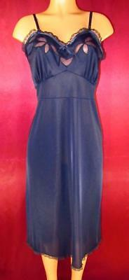Corsage~Sheer Inset Accents~Vintage Full Slip~Midnight Blue~40