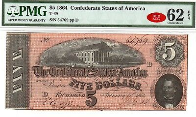 T-69 PF-9 $5 1864 Confederate Paper Money - PMG Uncirculated 62 EPQ - RED!
