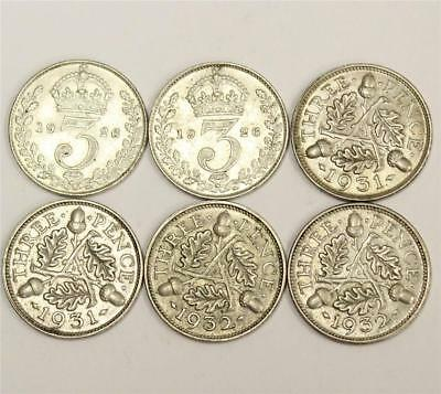 2x 1926 2x 1931 and 2x 1932 Great Britain 3 Three pence coins 6 coins EF-AU55+