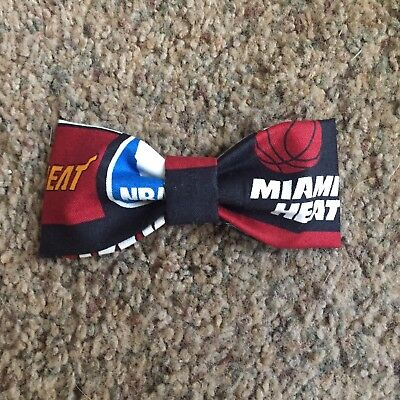 New Handmade NBA Inspired Bow Tie Fits All Ages - Clip On -Miami Heat