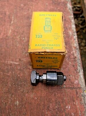 "Pristine Greenlee No. 733 1/2""  (D-Shape) Radio Chassis Hole Punch In Org Box Es"