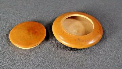 """Antique Turned Carved Wood Round Wooden Pill Lidded Box Lid Precious Boxwood 2"""""""