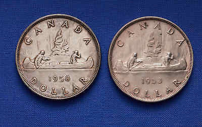 1950 & 1953 Canadian Silver Dollars. Silver. No Reserve.