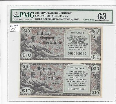 MPC Series 481  10  Dollars 2nd printing UNCUT PAIR UNIQUE  PMG 63 CHOICE UNC RR
