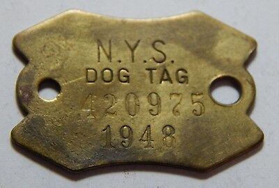 Vintage 1948 Dog License Tag - NY New York State