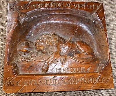Superb 19th century oak wood panel with relief carving of the Lion of Lucerne