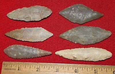 (6) Large Neolithic Willowleaf Blades