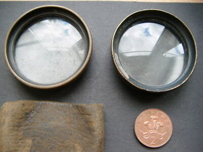 2x antique brass camera lenses - 150mm & 210mm focal length one in leather pouch