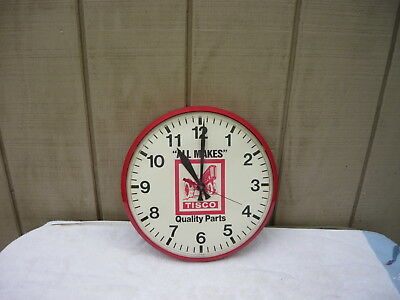 """Vintage Advertising Red Clock Tisco"""" Farm Tractor Center All Makes Quality Parts"""