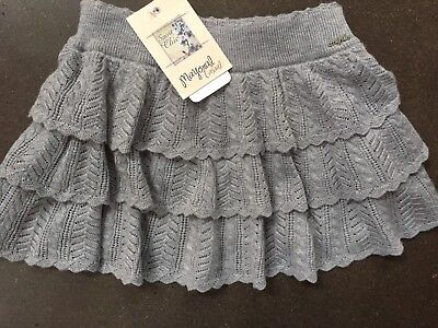 Girls 6 Boutique Mayoral Gray Knit Ruffle Skirt NEW NWT Holiday Sweater