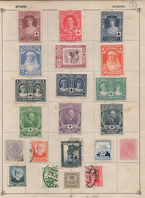 Spain, selection of stamps on pre war album page #2.