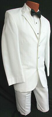 Pure White Perry Ellis Jacket & Pant Tuxedo Suit Winter Formal Wedding Prom Gala