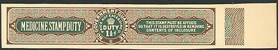 1910 1.5d SMALL MEDICINE STAMP DUTY  GREEN & BROWN DLR PROOF REVENUE FISCAL TAX