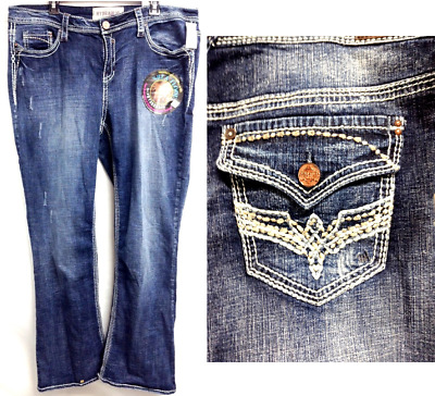 Hydraulic washed distressed slim boot spandex stretch embroidered jeans 14 16