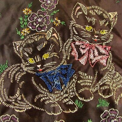 Antique BEADED EMBROIDERED CAT Pillow Case Hand Made Embroidery Picture