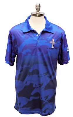 Ford Mustang Blue Sublimated Polo Shirt By David Carey