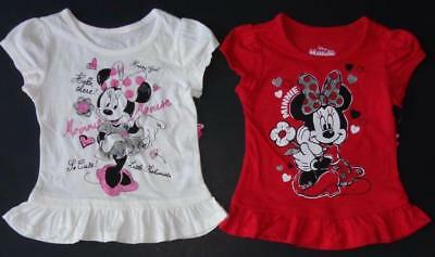 MINNIE MOUSE Toddler Girls 2T 3T 4T 5T Short Sleeve SHIRT Tee Top Disney
