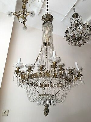 Rare Antique Very Large Basket French Chandelier Lustre Brass Bronze