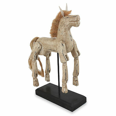 Wood Sculpture 'Beige Horse' Artisan Crafted Antique Look NOVICA Thailand