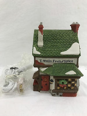 Department 56 Dickens Village Series T. Wells Fruit and Spice Shop with Light