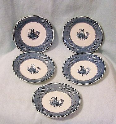 "5 Currier & Ives Royal China 6"" Saucers"