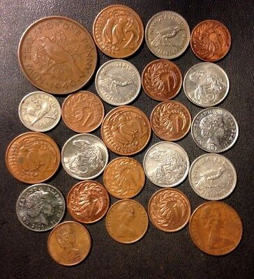 Old New Zealand Coin Lot - 1940-Present - 23 Collectible Coins - Lot #920