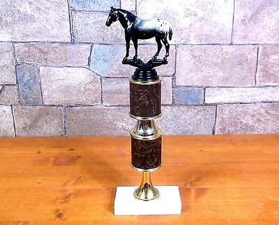 Vintage 1980's APPALOOSA HORSE Fine Marble Base TROPHY show contest Italy pony