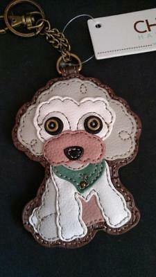 Chala White Poodle Dog Key Fob Coin Purse  NWT 806PD0