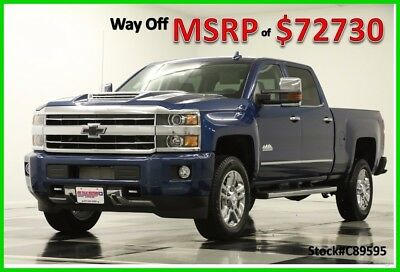 2018 Chevrolet Silverado 2500 HD MSRP$72730 4X4 High Country DVD Blue Diesel 4WD New 2500HD Duramax GPS Navigation Heated Cooled Black Leather Crew 17 2017 18