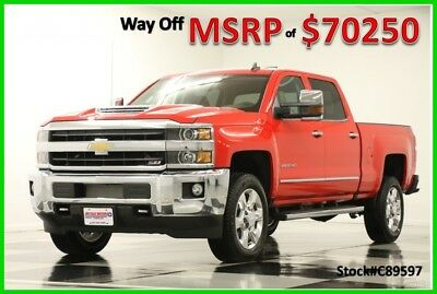 2018 Chevrolet Silverado 2500 HD MSRP$70250 4X4 LTZ Diesel Sunroof Red Crew New 2500HD Duramax GPS Heated Cooled Cocoa Leather Navigation 4WD Cab 17 2017 18