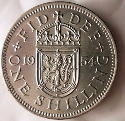 1954 GREAT BRITAIN SHILLING - Scarce Date - AU/UNC Coin - Lot #920