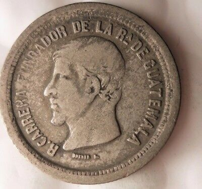 1867 GUATEMALA REAL - VERY Scarce Early Date Silver Coin - Lot #920