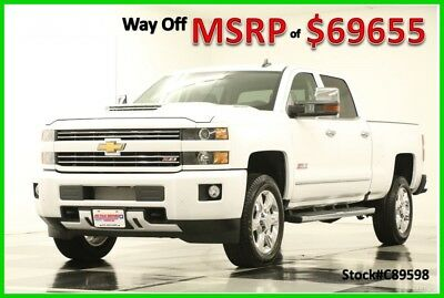 2018 Chevrolet Silverado 2500 HD MSRP$69655 4X4 LTZ Z71 Diesel Sunroof Crew New 2500HD Duramax Heated Cooled Leather GPS Navigation White Cab 4WD 17 2017 18