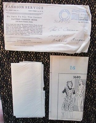 Vintage MAIL ORDER SEWING PATTERN Fashion Service FULL APRON 1940s UNCUT SZ 16
