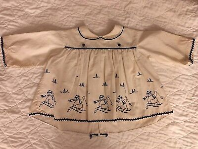 Vintage Style Baby Girl's Cream & Blue. Long Sleeved Dress ~Size 3-6 Months
