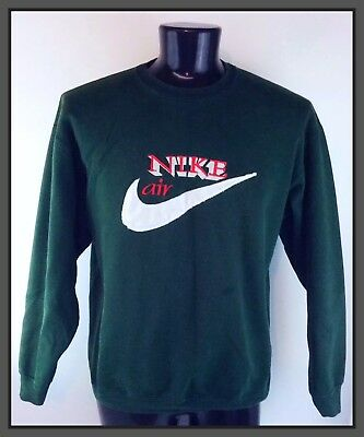 Vintage Men's Hunter Green Nike Air Sweatshirt Red & White Letters Swoosh Size M