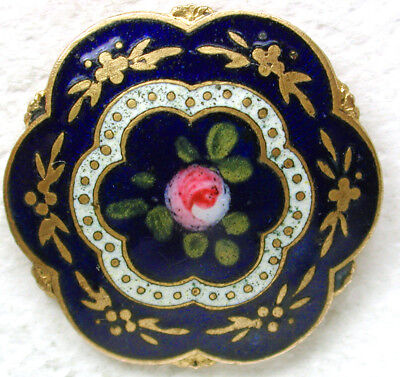 """Antique Button Hand Painted Enamel w Scallop Edge and Rose Center Cobalt 7/8"""""""