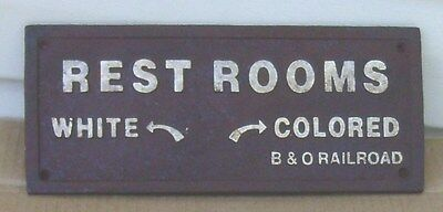 Black Segregation Sign REST ROOMS WHITE / COLORED -  Cast Iron