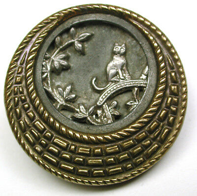 """Antique Button Cat on Roof w Crescent Border 7/8"""" So Charming!"""