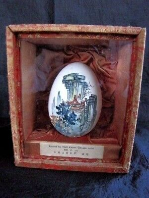 1930's Chinese Export Goose Egg Painting In Silk Box By Well Known  Artist P. Lu