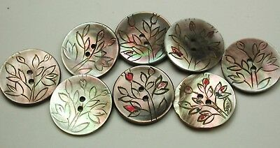 """8 Vintage Carved Shell Buttons Pretty Flower Design - 5/8"""""""