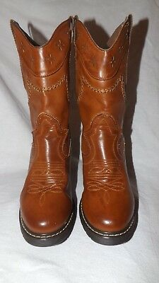 """Women's """"roper"""" Brown Leather Cowboy Western Boots  Sz. 9"""