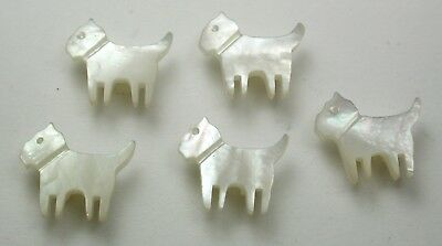 """5 Vintage Carved MOP Shell Buttons Realistic Terrier Dog Design - 1/2"""""""