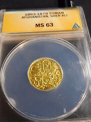 INV #T94 Afghanistan Sher Ali 1863-1879 GOLD Toman ANACS MS-63