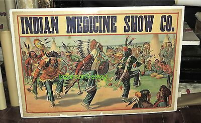 Indian Medicine Show Early 1900S Org Poster Native American War Dance Wild West
