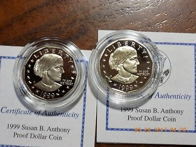 (2) 1999-P Susan B. Anthony Gem Cameo Proof Dollars in Boxes w/ COA's