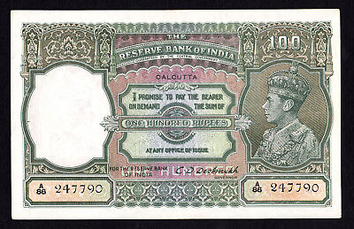 India George VI 100 Rupees ND. 1943 P. 20e C.D.Deshmukh EF Note RARE